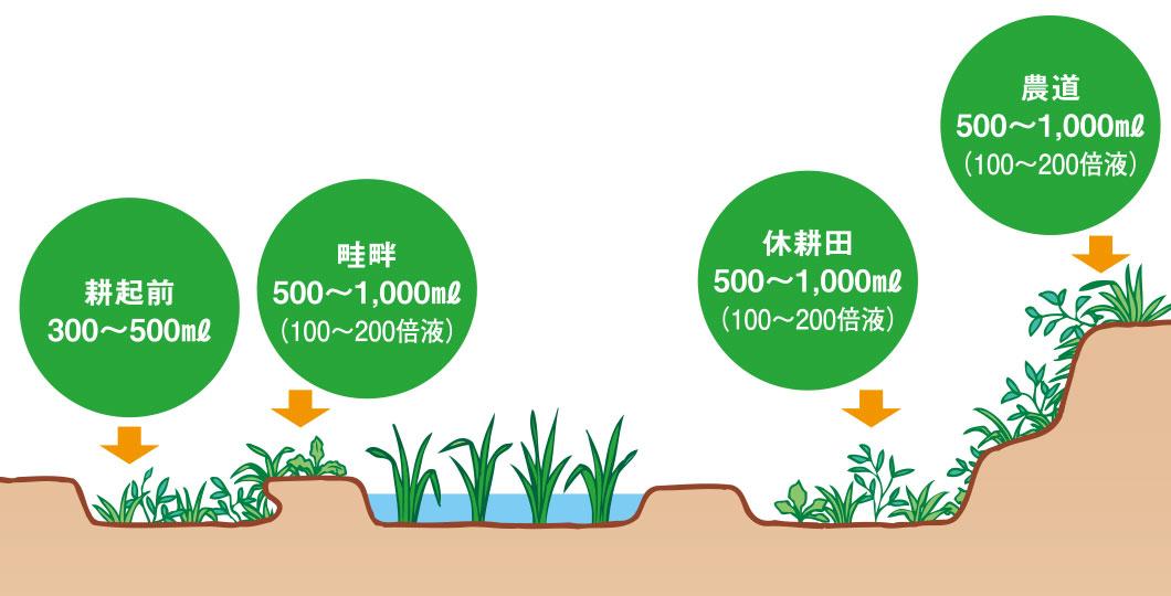 水田畦畔での使用法   BASF除草...